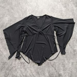 Vintage M Collection black sheer aesemetrical top with dramatic sleeves